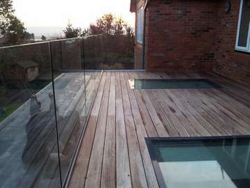 Design and build : CLL balustrade system glazed with 15mm heatsaoked laminated toughened - HWL - Walk on skylights- Hardwood decking - Not Mr Mark Spereall attention to detail !!