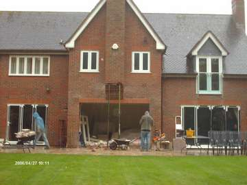 Mrs D. HESWALL Wirral; Installation of steels to form three opening to take Allstyle Bi Fold doors; Work include supports Chimney stack