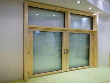 Manchester : Installation of Aluclad entrance doors Triple glazed