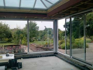 ORMSKIRK - LANCASHIRE : Allstyle Large Patio doors Double glazed. S300 Polyester Powder Coated Aluminium Windows - Double Glazed Planitherm Plus. Warmedge Spacer- Argon gas filled cavity