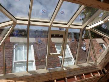 Lancashire Kitchens : Bolton : Close up photo of our new ATS Roof Lantern. Note Slimline profiles - Internal Ridge and Rafter only 40mm . Glazed with with .7 triple glazing giving overal Glass and rafter U Value .95