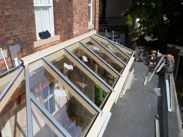 Lancashire Kitchens : Bolton : Installtion of a ATS Roof Lantern Triple Glazed inc 2 no electric Skylights . Orangery roof lanterns Liverpool