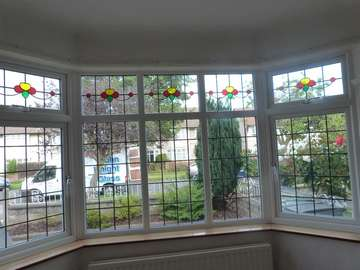 Mr C, Meols, 5 Peace Bay window in UPVC ornate 2800 series windows with 28mm double glazing with led strips and led lighting in the transom windows.