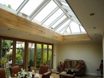 Cheadle Heath . Cheshire : Installation of HWL Roof Lantern with G. Barnsdale Timber Bi Fold doors.