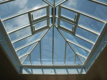 Internal view of our HWL Rooflight system. double glazed with hytherm self cleaning double glazed units. The roof light has been constructed with 4 electric opening roof vents with climate control opening