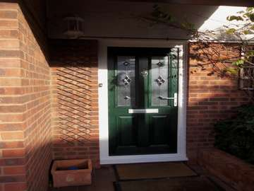 Mrs H. : KELSALL . CHESHIRE : Installation of a Hamburg Composite door in Green. Double glazed with a Bespoke Bevel glass
