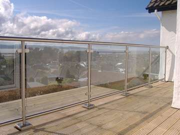 Mr D. Heswall Wirral. Q rail. Stainless steel Balustrade, Glazed with 12mm Heat- soaked toughened Safety glass